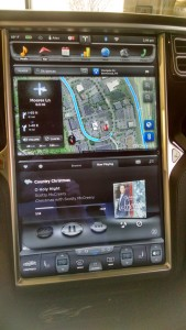 Model S  Console showing nav and music. Clcik to Enlarge
