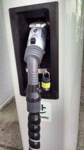 Padlock on Rapid Charge unit at Newton Nissan