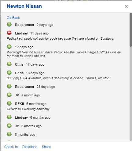 Lindsay leaves comment on Plugshare regarding padlock